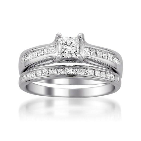 Montebello 14k White Gold 1 1/10ct TDW Princess Diamond Bridal Ring Set
