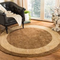 Safavieh Handmade Silk Road Chocolate/ Light Gold New Zealand Wool Rug (8' Round) - 8' Round