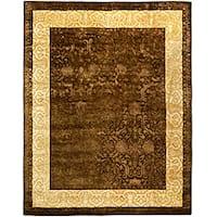 "Safavieh Handmade Silk Road Chocolate/ Light Gold New Zealand Wool Rug - 7'6"" x 9'6"""