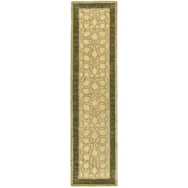 Safavieh Handmade Silk Road Ivory/ Sage New Zealand Wool Rug (2'6 x 8')
