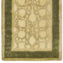 Safavieh Handmade Silk Road Ivory/ Sage New Zealand Wool Rug (2'6 x 8') - Thumbnail 1