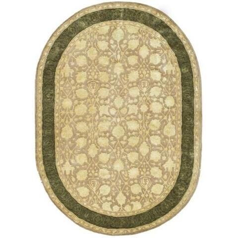 "Safavieh Handmade Silk Road Ivory/ Sage New Zealand Wool Rug - 4'6"" x 6'6"" Oval"