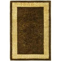 Safavieh Handmade Silk Road Chocolate/ Light Gold New Zealand Wool Rug - 2' X 3'