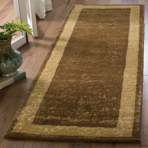 "Safavieh Handmade Silk Road Chocolate/ Light Gold New Zealand Wool Rug (2'6 x 10') - 2'6"" x 10'"