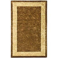 Safavieh Handmade Silk Road Chocolate/ Light Gold New Zealand Wool Rug - 5' x 8'