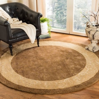 Safavieh Handmade Silk Road Chocolate/ Light Gold New Zealand Wool Rug (6' Round)