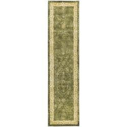 "Safavieh Handmade Silk Road Green/ Ivory New Zealand Wool Rug - 2'6"" x 10' - Thumbnail 0"