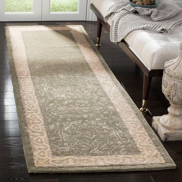 "Safavieh Handmade Silk Road Green/ Ivory New Zealand Wool Rug - 2'6"" x 10'"