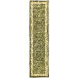 Safavieh Handmade Majestic Green/ Ivory N. Z. Wool Rug (2'6 x 8')