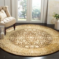 "Safavieh Handmade Silk Road Brown/ Ivory New Zealand Wool Rug - 3'6"" x 3'6"" round"