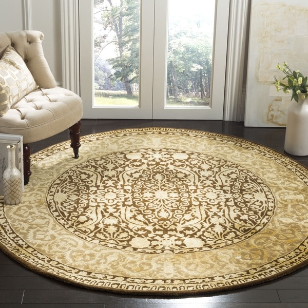 Safavieh Handmade Silk Road Brown/ Ivory New Zealand Wool Rug (3'6 Round)