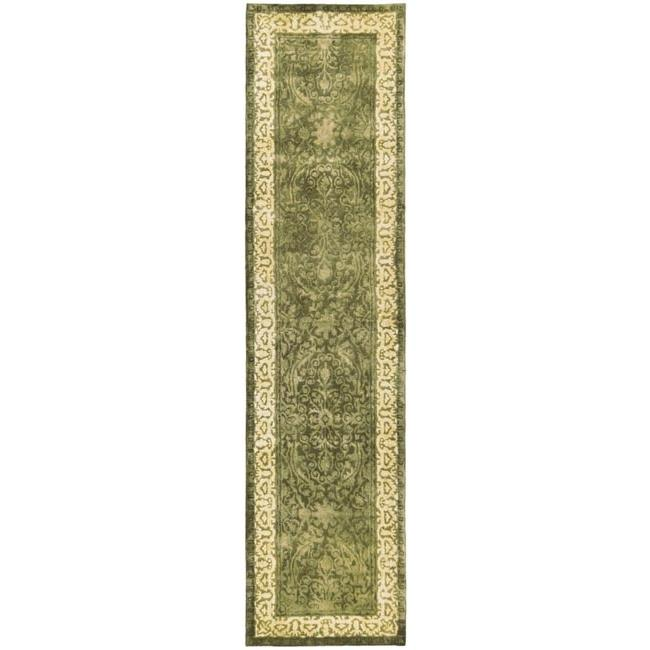 Safavieh Handmade Silk Road Green/ Ivory New Zealand Wool Rug (2'6 x 12')