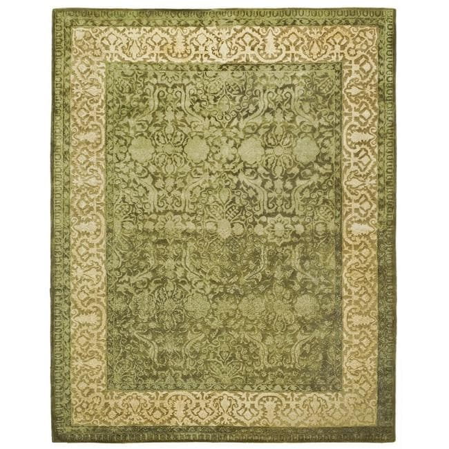 Safavieh Handmade Silk Road Green/ Ivory New Zealand Wool Rug (7'6 x 9'6)