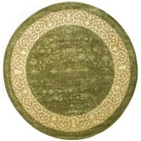 Safavieh Handmade Silk Road Green/ Ivory New Zealand Wool Rug - 8' x 8' Round