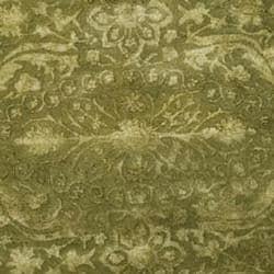 Safavieh Handmade Silk Road Green/ Ivory New Zealand Wool Rug (3'6 Round) - Thumbnail 2
