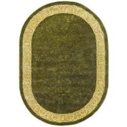 Safavieh Handmade Silk Road Green/ Ivory New Zealand Wool Rug (4'6 x 6'6 Oval)