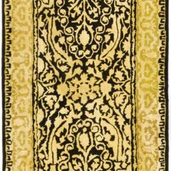 Safavieh Handmade Silk Road Black/ Ivory New Zealand Wool Rug (2'6 x 12') - Thumbnail 2
