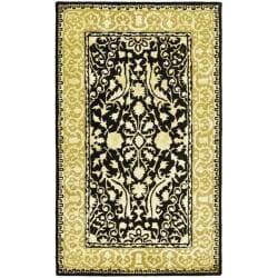 Safavieh Handmade Silk Road Black/ Ivory New Zealand Wool Rug (2'6 x 4')