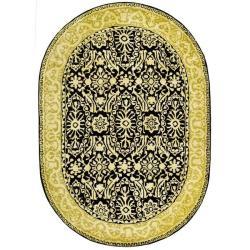 Safavieh Handmade Majestic Black/ Ivory N. Z. Wool Rug (4'6 x 6'6 Oval)