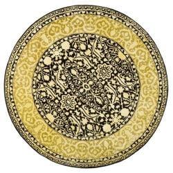 Safavieh Handmade Silk Road Black/ Ivory New Zealand Wool Rug (6' Round)