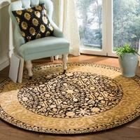 Safavieh Handmade Silk Road Black/ Ivory New Zealand Wool Rug - 6' x 6' Round