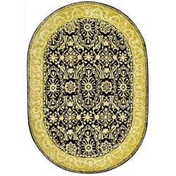 Safavieh Handmade Silk Road Black/ Ivory New Zealand Wool Rug (7'6 x 9'6 Oval)