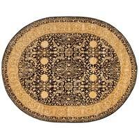 "Safavieh Handmade Silk Road Black/ Ivory New Zealand Wool Rug - 7'6"" x 9'6"" oval"