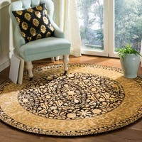 "Safavieh Handmade Silk Road Black/ Ivory New Zealand Wool Rug - 3'6"" x 3'6"" round"