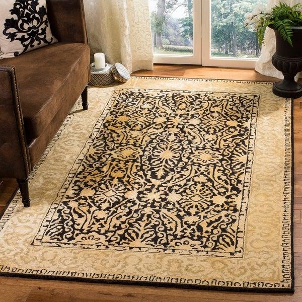 Safavieh Handmade Silk Road Black/ Ivory New Zealand Wool Rug - 7'6 x 9'6