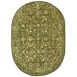 Safavieh Handmade Silk Road Majestic Sage N. Z. Wool Rug (4'6 x 6'6 Oval)