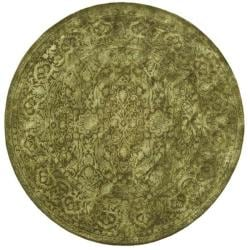 Safavieh Handmade Silk Road Majestic Sage New Zealand Wool Rug (3'6 Round)