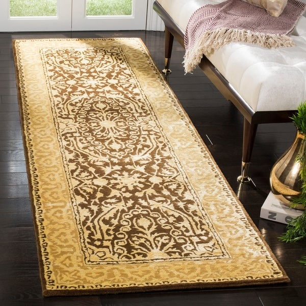 "Safavieh Handmade Silk Road Brown/ Ivory New Zealand Wool Rug - 2'6"" x 12'"