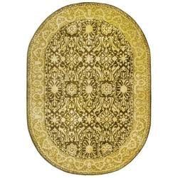 Safavieh Handmade Silk Road Brown/ Ivory New Zealand Wool Rug (4'6 x 6'6 Oval)