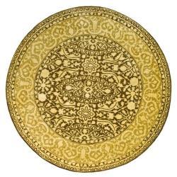 Safavieh Handmade Majestic Brown/ Ivory N. Z. Wool Rug (6' Round)