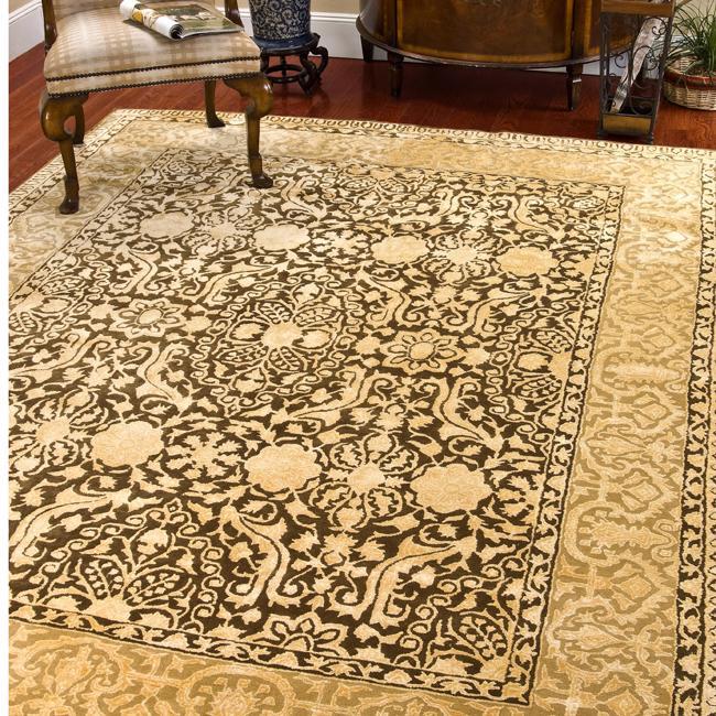 Safavieh Handmade Majestic Brown/ Ivory N. Z. Wool Area Rug (7'6 x 9'6)