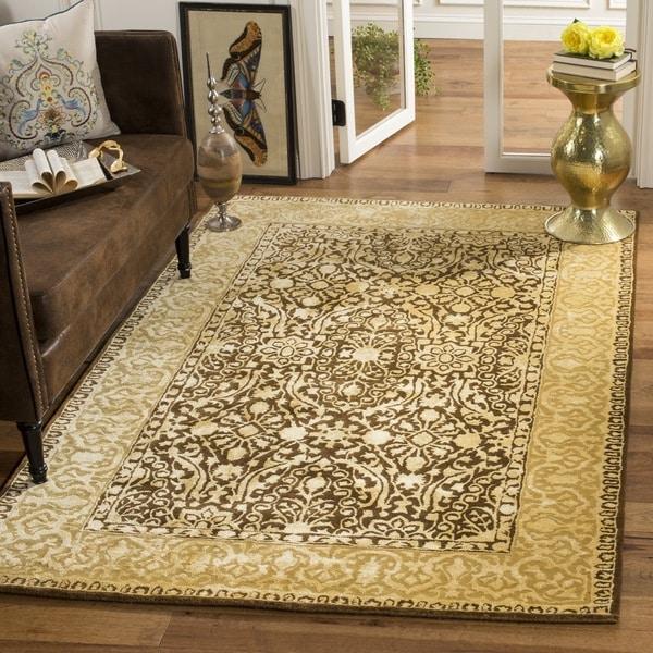 Safavieh Handmade Silk Road Brown/ Ivory New Zealand Wool Area Rug - 7'6 x 9'6