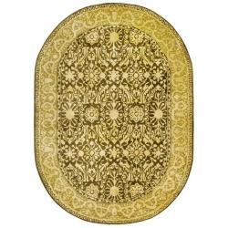 Safavieh Handmade Majestic Brown/ Ivory N. Z. Wool Rug (7'6 x 9'6)