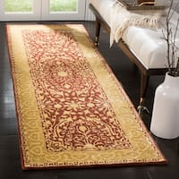 "Safavieh Handmade Silk Road Maroon/ Ivory New Zealand Wool Rug - 2'6"" x 12'"