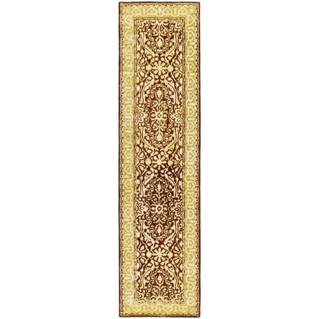 Safavieh Handmade Silk Road Maroon/ Ivory New Zealand Wool Rug (2'6 x 8')