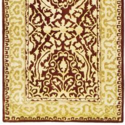 Safavieh Handmade Silk Road Maroon/ Ivory New Zealand Wool Rug (2'6 x 8') - Thumbnail 1