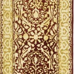 Safavieh Handmade Silk Road Maroon/ Ivory New Zealand Wool Rug (2'6 x 8') - Thumbnail 2