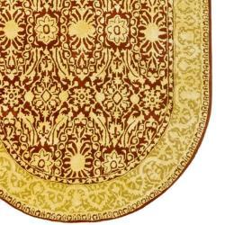 Safavieh Handmade Silk Road Maroon/ Ivory New Zealand Wool Rug (4'6 x 6'6 Oval) - Thumbnail 1