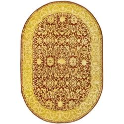 Safavieh Handmade Silk Road Maroon/ Ivory New Zealand Wool Rug (4'6 x 6'6 Oval)