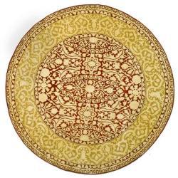 Safavieh Handmade Majestic Maroon/ Ivory N. Z. Wool Rug (6' Round)