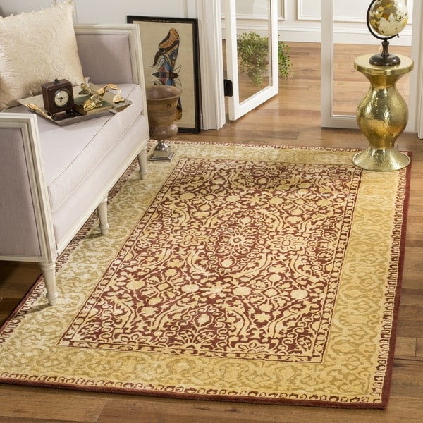 "Safavieh Handmade Silk Road Maroon/ Ivory New Zealand Wool Rug - 9'6"" x 13'6"""