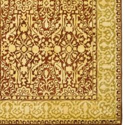 Safavieh Handmade Silk Road Maroon/ Ivory New Zealand Wool Rug (4' x 6') - Thumbnail 1