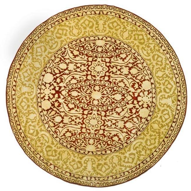 Safavieh Handmade Silk Road Maroon/ Ivory New Zealand Wool Rug (3'6 Round)