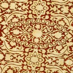 Safavieh Handmade Silk Road Maroon/ Ivory New Zealand Wool Rug (3'6 Round) - Thumbnail 2