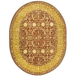Safavieh Handmade Silk Road Maroon/ Ivory New Zealand Wool Rug (7'6 x 9'6 Oval)