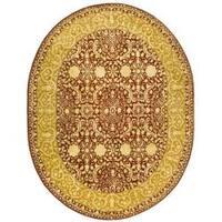 "Safavieh Handmade Silk Road Maroon/ Ivory New Zealand Wool Rug - 7'6"" x 9'6"" oval"